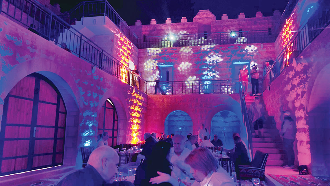 After happy hour, agency owners attending the Travel Leaders Network 2019 International Summit in Jordan had dinner in a banquet castle in the Wadi Rum desert.