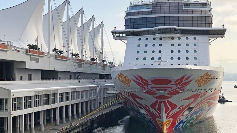 The Norwegian Joy alongside the Canada Place terminal in Vancouver. Members of Congress are proposing that Canada allow ships to make port calls without disembarking as a way around the country's big-ship cruise ban.