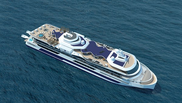 A rendering of the Celebrity Flora, an example of the new standard in cruising, which will replace the Xpedition in the Galapagos.