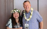 Christina Aldanese of Hawaii Tourism USA and Adam Martindale of Cruise Planners pose for a photo at GTM West's Hawaiian Islands Aloha Breakfast.