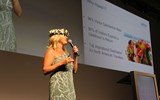 Robyn Basso of Hawaii Tourism USA educates the audience during the Hawaiian Islands Aloha Breakfast at GTM West.