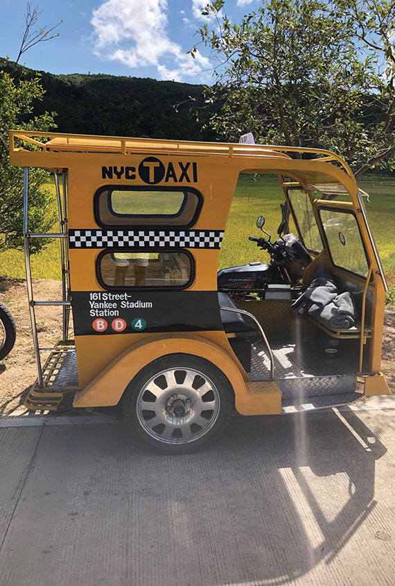 "A Filipino ""tricycle"" pays homage to New York taxicabs and the New York subway system."