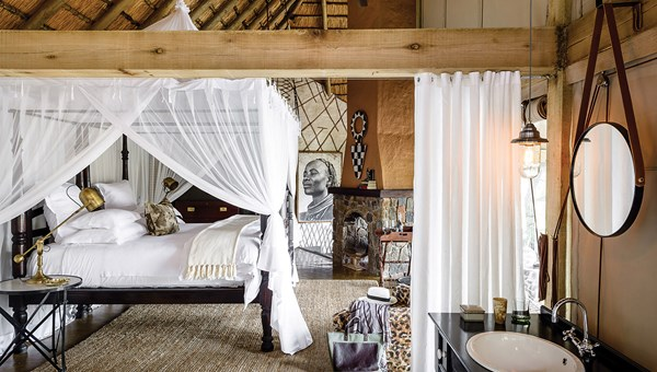 Accommodations at the Singita Ebony Lodge in South Africa. Singita has introduced an elephant-collaring experience, through which travelers can assist in efforts to track the creatures.