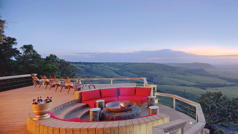 A deck and fire pit at Kenya's Angama Mara lodge, which recently launched a photography studio.