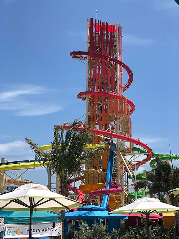 The Daredevil's Tower, encircled by the Daredevil's Peak waterslide.