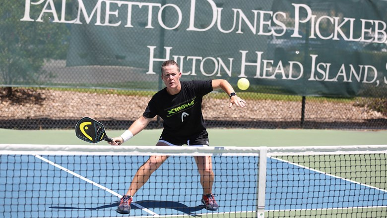 The Palmetto Dunes resort in South Carolina offers a variety of pickleball programming, including clinics with pickleball pro Sarah Ansboury, pictured.