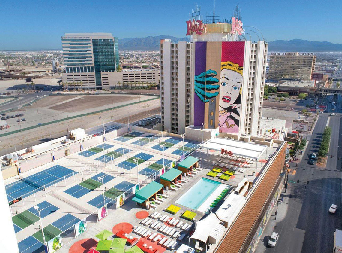 The Plaza Hotel and Casino in Las Vegas bet big on pickleball in 2016 when it added 12 dedicated pickleball courts in a renovation of its pool deck.
