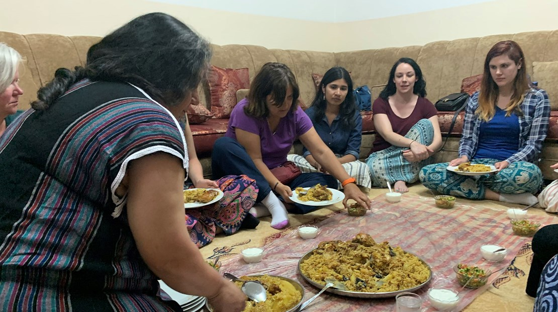 Having dinner and tea with the women and children who live in a traditional multi generational Jordanian household.