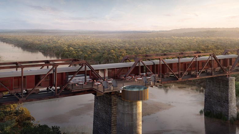 A rendering of the pool deck at the Kruger Shalati Train on a Bridge. The hotel is scheduled to debut in December.