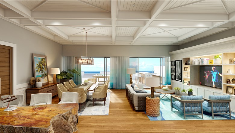 Rendering of a Margaritaville Island Reserve suite.
