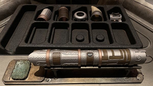 The hilt of the lightsaber constructed by Travel Weekly's Jamie Biesiada.