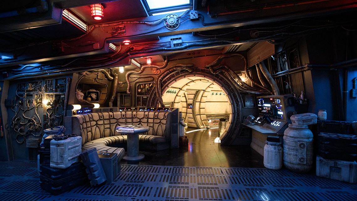 """The main hold lounge is one of several areas guests will encounter inside """"Millennium Falcon: Smugglers Run."""""""