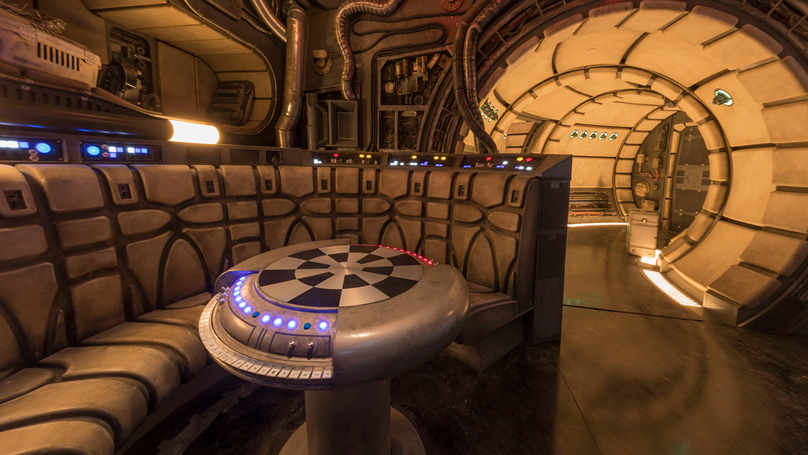 A close-up view of the main hold lounge aboard the Millennium Falcon.