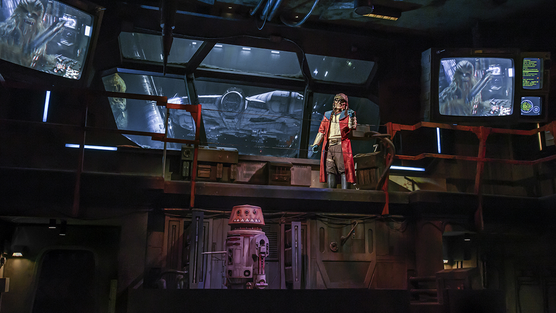 """The Weequay pirate, Hondo Ohnaka, gives guests their mission prior to boarding """"Millennium Falcon: Smugglers Run."""""""