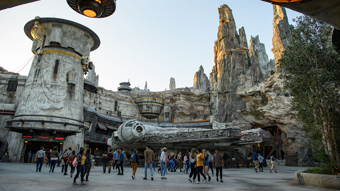 The Millennium Falcon beckons at Star Wars: Galaxy's Edge, the new land that opens on May 31 at Disneyland in Anaheim, Calif. Galaxy's Edge at Disney's Hollywood Studios will open on Aug. 29.