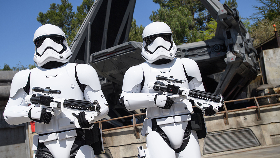 Stormtroopers greet guests at Star Wars: Galaxy's Edge.