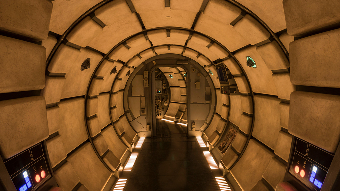 """""""Millennium Falcon: Smugglers Run"""" takes guests through parts of the ship before entering the ride that allows riders to take control of the """"fastest ship in the galaxy."""""""