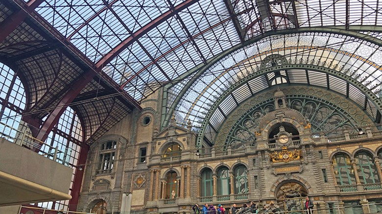 Destinations editor Eric Moya took a weeklong trip with Eurail, visiting four countries along the way. Pictured, the central rail station in Antwerp, Belgium, which dates to 1905.