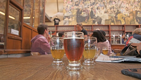A sampling of beers at Ghent's family-owned Gruut brewery, where the beer is brewed with a variety of herbs instead of with hops.