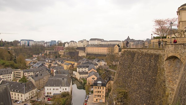 A view of the Grund quarter along the Alzette River from Luxembourg City's Old Quarters and Fortifications, a Unesco World Heritage Site.