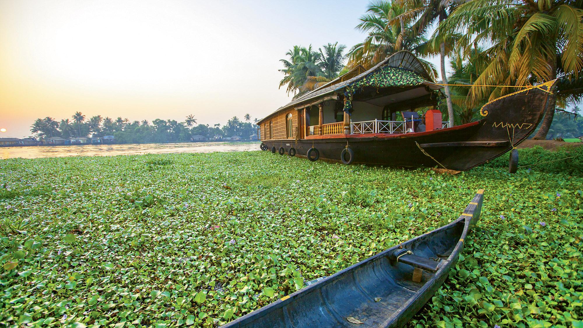A kettuvallam, or houseboat, cruises the backwaters of Kerala.