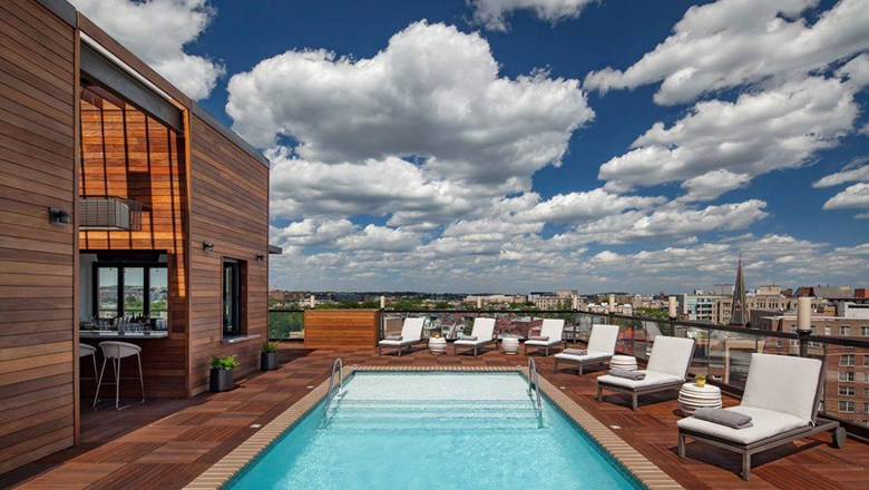 The rooftop pool at the Mason & Rook.