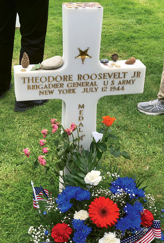 The grave marker for Brig. Gen. Theodore Roosevelt Jr., the eldest son of president Theodore Roosevelt, who led his troops ashore at Utah Beach.