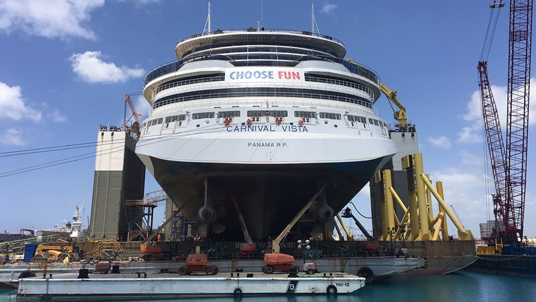 The aft end of the Carnival Vista on the Boka Vanguard at the Grand Bahama Shipyard.