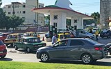 Oil shortages result in long lines at gas stations throughout Cuba.