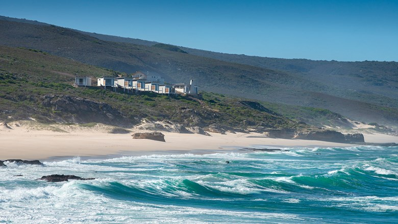 Lekkerwater Beach Lodge is situated on a cliff overlooking the water in the De Hoop Reserve, east of Cape Town in South Africa.