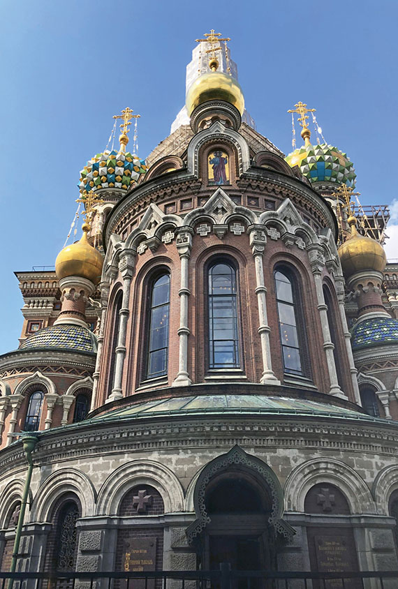 The Church of the Savior on Spilled Blood was built on the site where Alexander II was killed by an assassin's bomb.