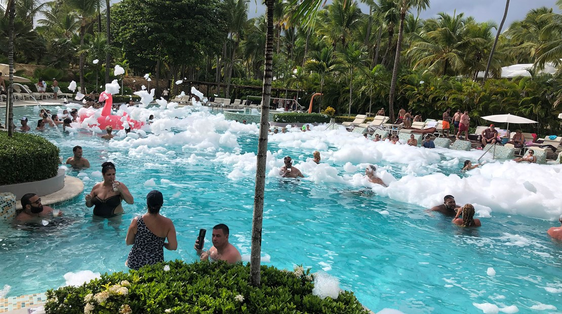 A foam party at the TRS Turquesa in Punta Cana, Dominican Republic.