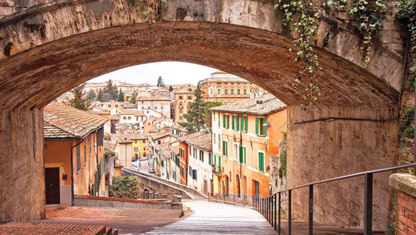 An aqueduct in Perugia, the capital of Umbria, one of the stops on an Avanti tour.