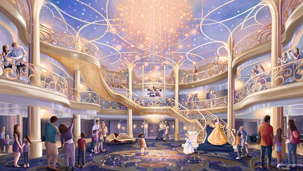 The Disney Wish's three-story atrium will be inspired by an enchanted fairytale.
