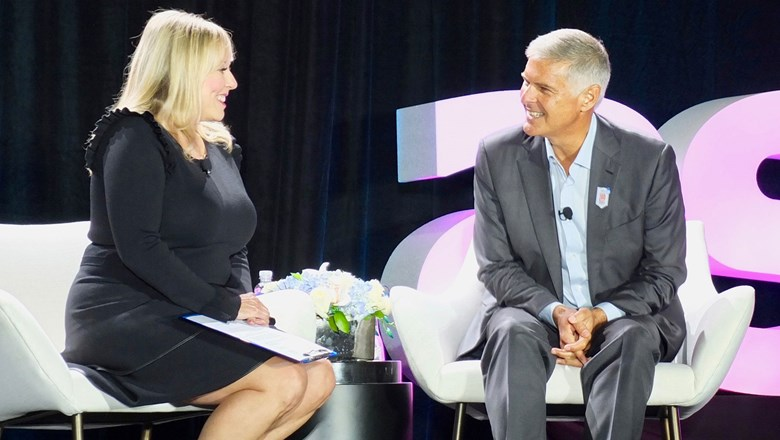 CBS reporter Wendy Gillette interviews Hilton president and CEO Chris Nassetta during the ASTA Global Convention 2019.
