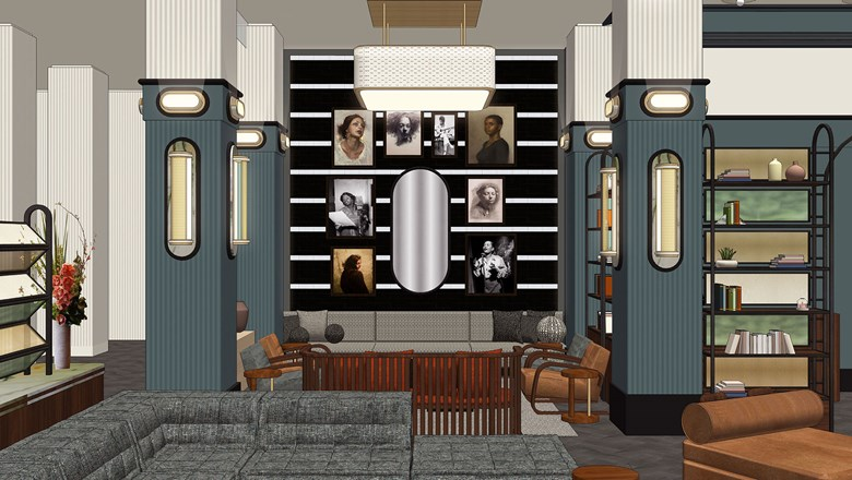 A rendering of The Redbury New York's lobby lounge.