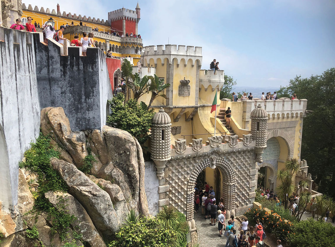 The 19th century Pena Palace, built around the remains of a hilltop monastery, is one of the prime tourist draws in Sintra, once the summer retreat of Portuguese royalty.