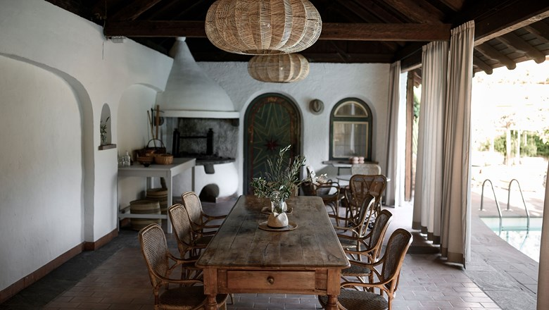 The dining room at Villa Arnica in Lana, South Tyrol, Italy.