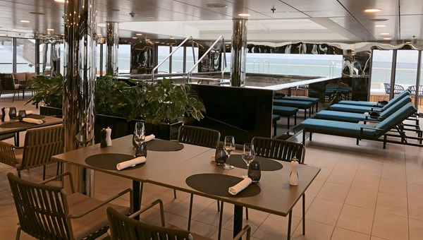 The Yacht Club on the Scenic Eclipse is both a casual indoor-outdoor eatery and the site of the main pool.