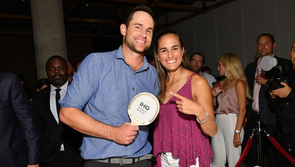 Andy Roddick and Monica Puig at an event promoting IHG's sponsorship of the US Open.