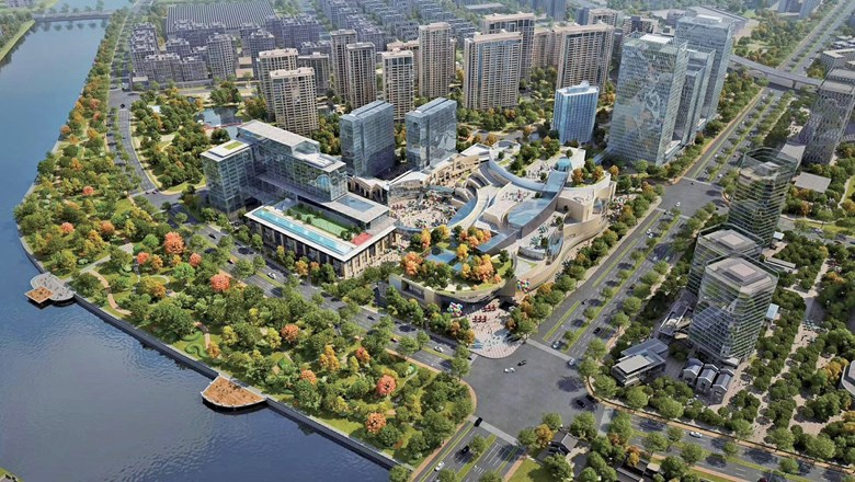The Kempinski Hotel Hangzhou is part of a mixed-use complex along the Grand Canal.