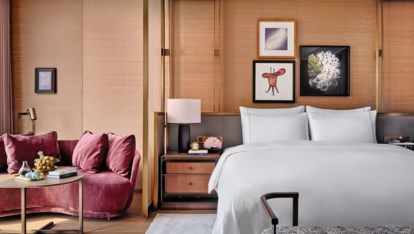 A deluxe guestroom at the Rosewood Guangzhou, which features 251 guestrooms and suites in the top 39 floors of a 108-story skyscraper.
