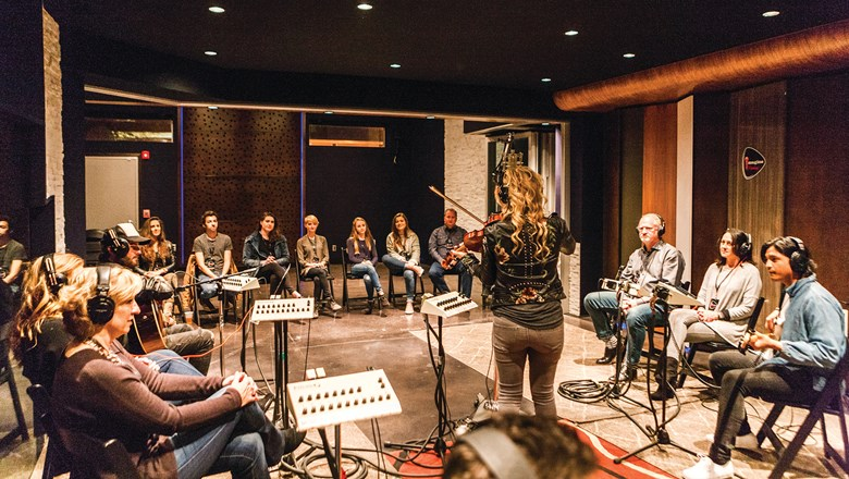 Guests of next year's Tauck Nashvillet tour in partnership with Ken Burns will be able to sit in on a live studio recording session, such as the one pictured here.