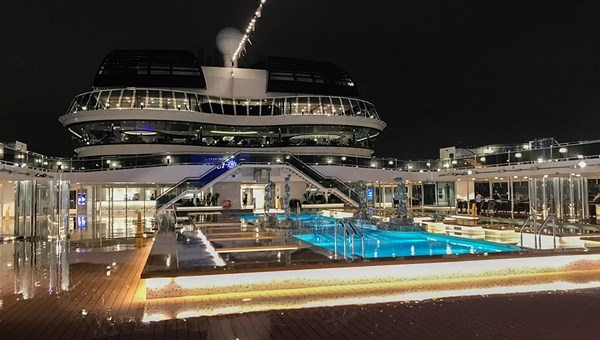 Night views: The MSC Meraviglia's pool deck.