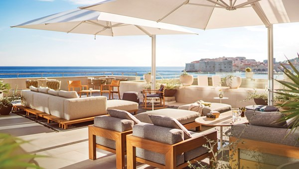 The terrace of the Hotel Excelsior's Abakus Piano Bar overlooks the Adriatic Sea and Dubrovnik's Old Town.