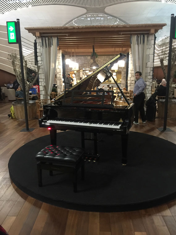 A self-playing grand piano greets patrons as they enter the lounge.