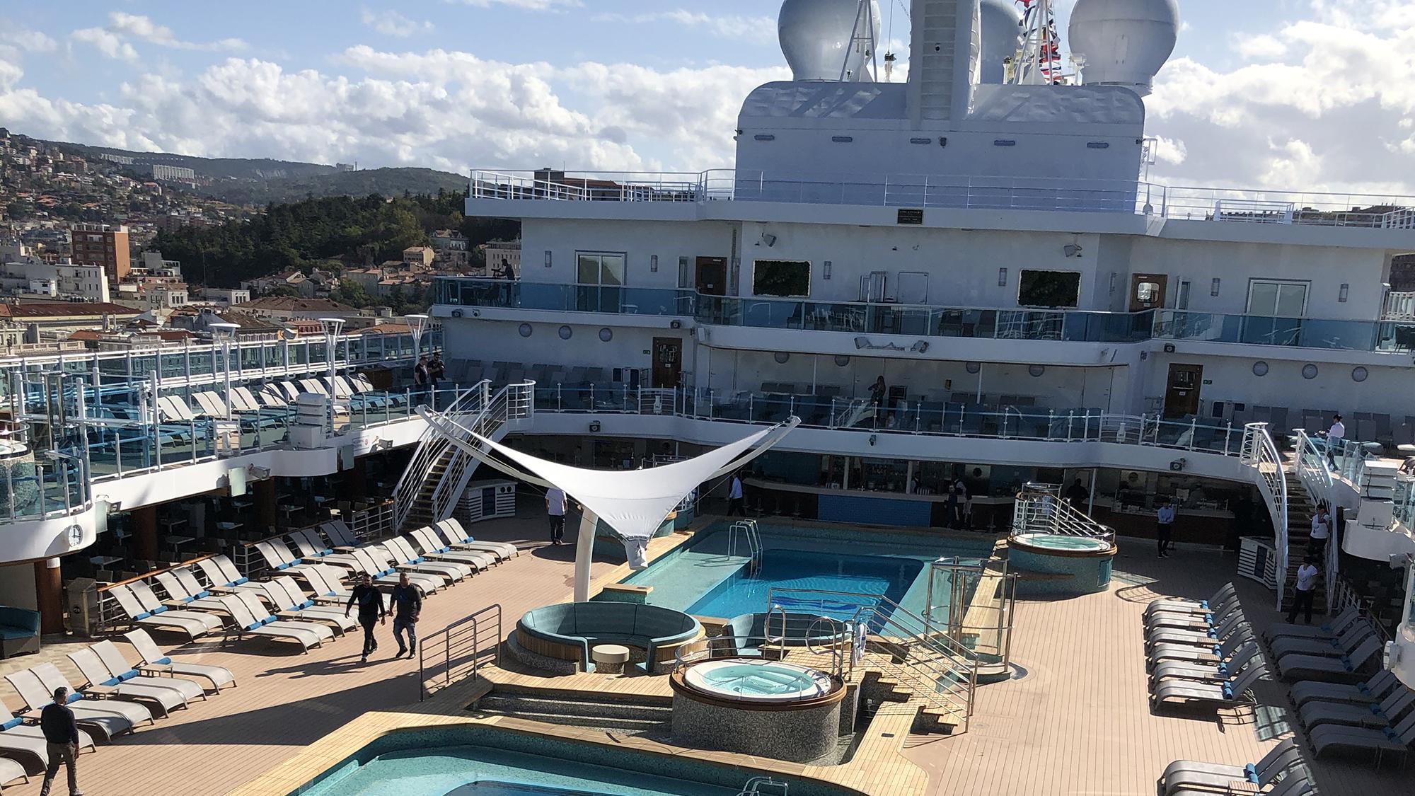 The Sky Princess' pool deck.