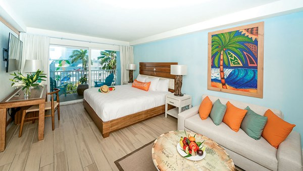 The resort's guestrooms feature splashes of vibrant Caribbean colors.