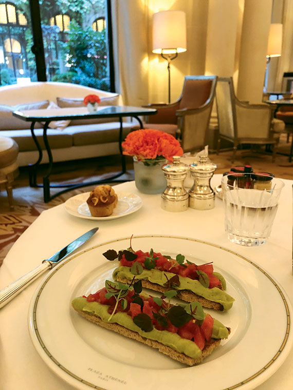 Breakfast in La Galerie at the Plaza Athenee Hotel, facing the lovely ivy-covered courtyard, La Cour Jardin.