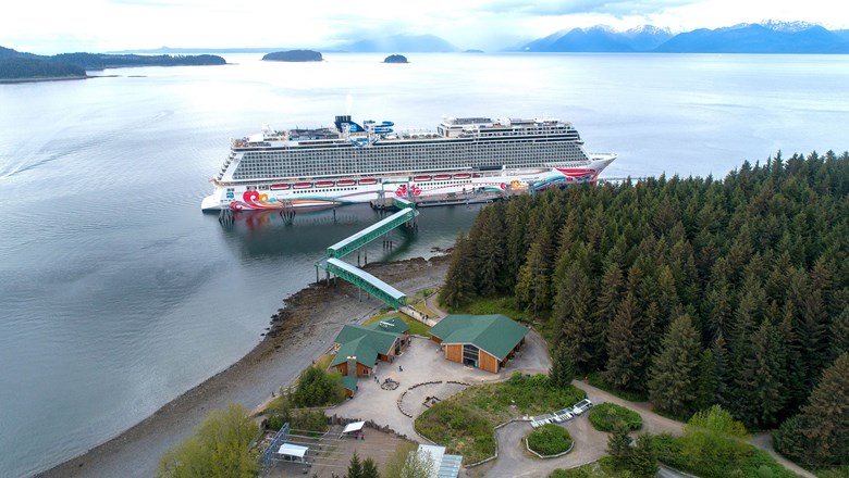 The pier at Icy Strait Point. Alaska is one of Norwegian Cruise Line's most lucrative destinations.